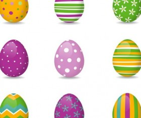 Easter colored egg set vector 03