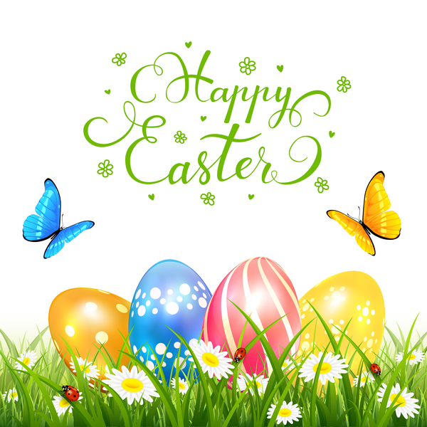 Easter Eggs On Grass And Butterflies Vector
