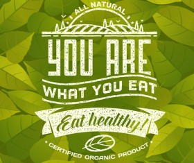 Eat healthy poster with leaves background vector