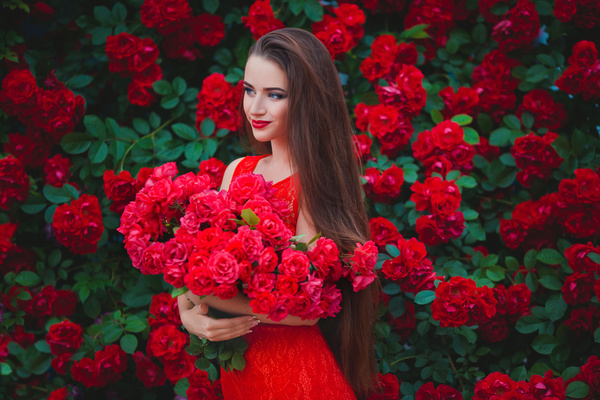 Embrace red flowers beautiful girl in red stock photo flowers embrace red flowers beautiful girl in red stock photo voltagebd Gallery