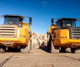 Engineering transport vehicles Stock Photo