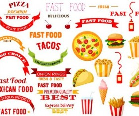 Fast food labels with banners and logo vector 01