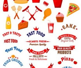 Fast food labels with banners and logo vector 02
