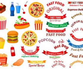 Fast food labels with banners and logo vector 03