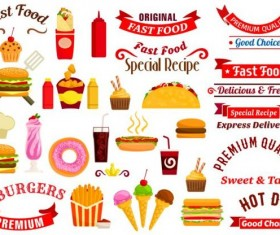 Fast food labels with banners and logo vector 04