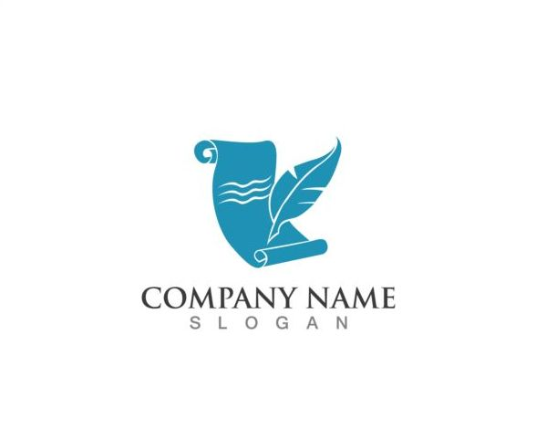 Feather pen company logos design vector 01