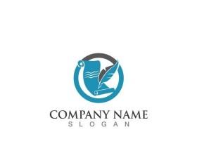 Feather pen company logos design vector 07