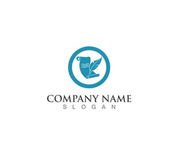 Feather pen company logos design vector 08