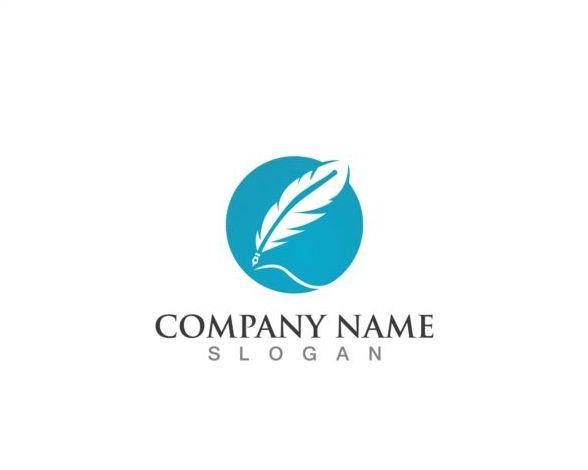 Feather pen company logos design vector 10