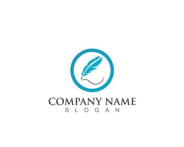 Feather pen company logos design vector 12
