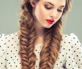 Female braids hair style Stock Photo