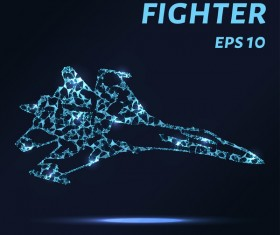 Fighter with points lines 3D vector