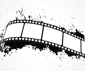 Film reel with ink splash vector