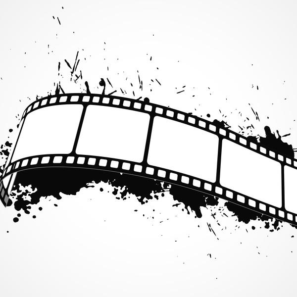 Film reel with ink splash vector