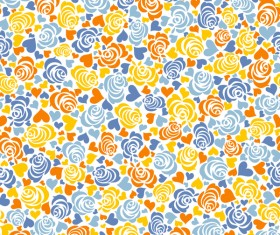 Floral with heart seamless pattern vectors