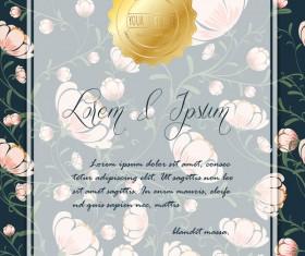 Flower invitation wedding card vector 02