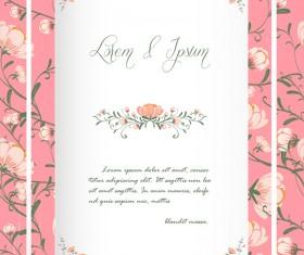 Flower invitation wedding card vector 03