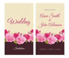 Flower wedding invitation card retro vector 01