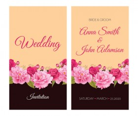 Flower wedding invitation card retro vector 02