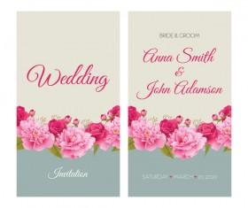Flower wedding invitation card retro vector 03