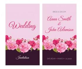 Flower wedding invitation card retro vector 04