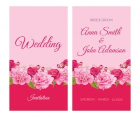 Flower wedding invitation card retro vector 05