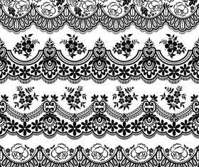 Flower with lace borders black vector 01