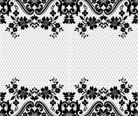 Flower with lace borders black vector 02