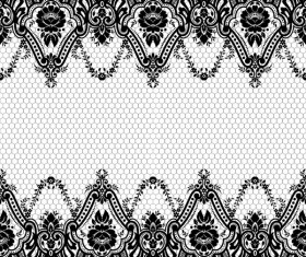 Flower with lace borders black vector 03