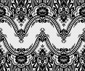 Flower with lace borders black vector 04