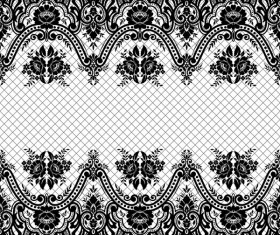 Flower with lace borders black vector 05