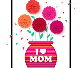 Flower with mother day background vectors 01