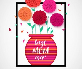 Flower with mother day background vectors 03