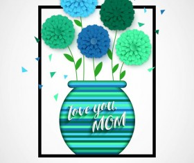Flower with mother day background vectors 05