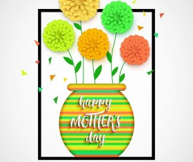 Flower with mother day background vectors 06