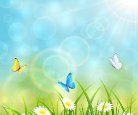 Flying butterflies on blue summer background vector