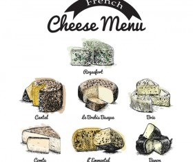 French cheese menu vector 01