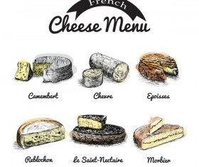 French cheese menu vector 02