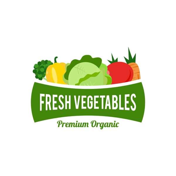 Fresh vegetables logo design vector 02