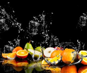Fruits and Splashing water Stock Photo 02