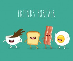Funny egg and bacon with coffee cartoon characters vector