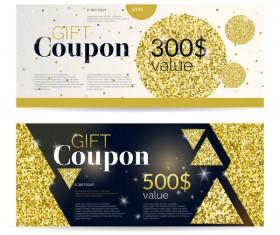 Gift coupon golden vectors set