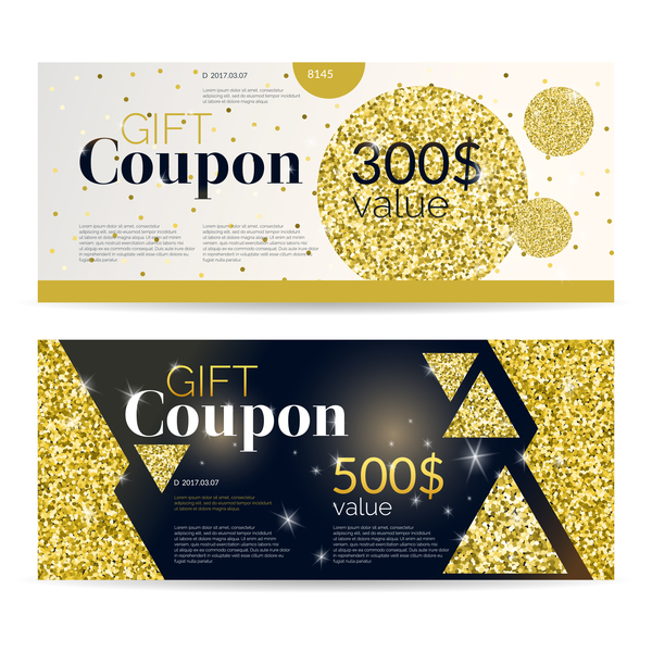 Gift coupon golden vectors set