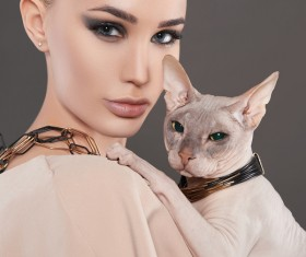 Girl with cat HD picture 02
