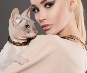 Girl with cat HD picture 03