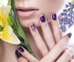 Girl with flowers and nail manicure HD picture 01