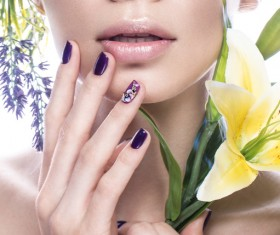 Girl with flowers and nail manicure HD picture 02