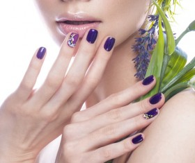Girl with flowers and nail manicure HD picture 03