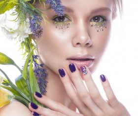 Girl with flowers and nail manicure HD picture 04