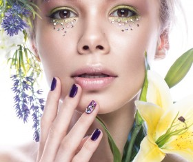 Girl with flowers and nail manicure HD picture 05
